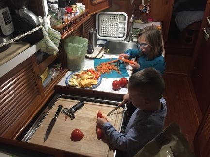 Victoria and Alexander preparing lunch