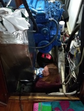 Ashley painting the bilge