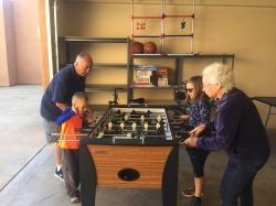 Playing Foosball with Grandma and Grandpa Murphy